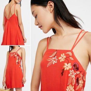 Free People Orange Flower Fields Shift Mini Dress